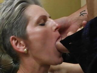 Mature skinny mom fucks her son's friend