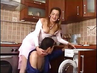 Russian mature fucks repair man - Helena